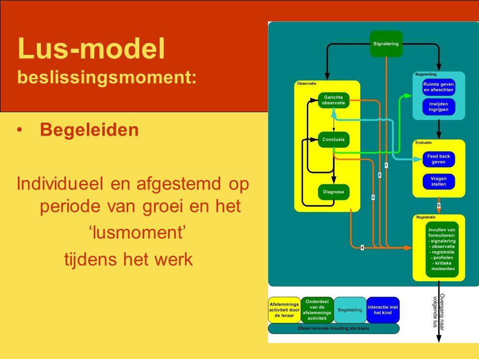 Lus-model beslissingsmoment: Begeleiden Individueel en afgestemd op periode van groei en het 'lusmoment' tijdens het werk