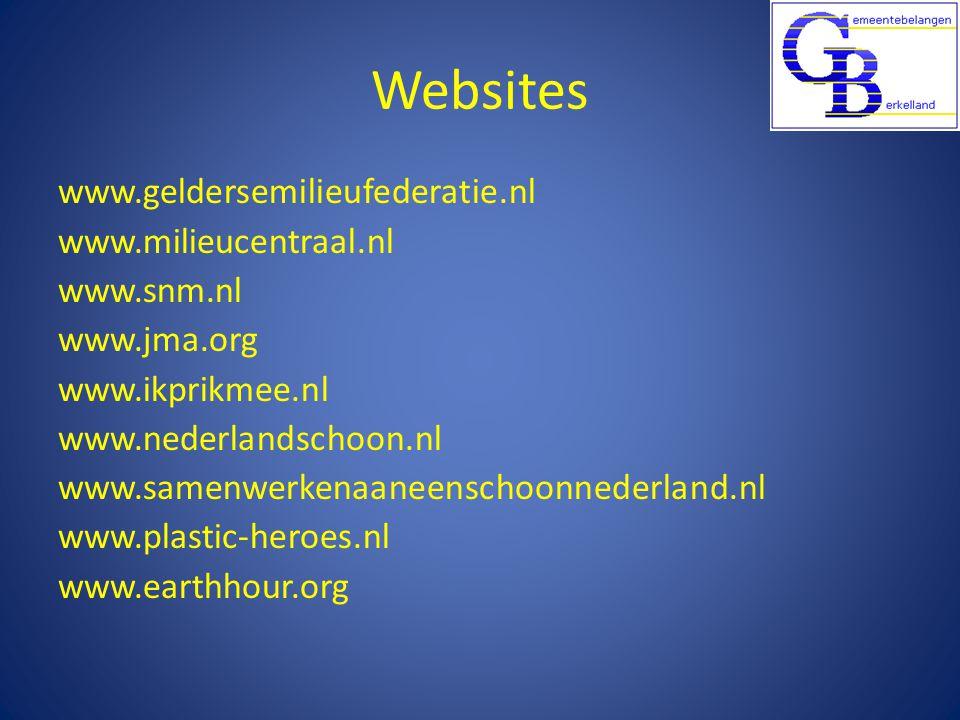 Websites www.geldersemilieufederatie.nl www.milieucentraal.nl www.snm.nl www.jma.org www.ikprikmee.nl www.nederlandschoon.nl www.samenwerkenaaneenschoonnederland.nl www.plastic-heroes.nl www.earthhour.org