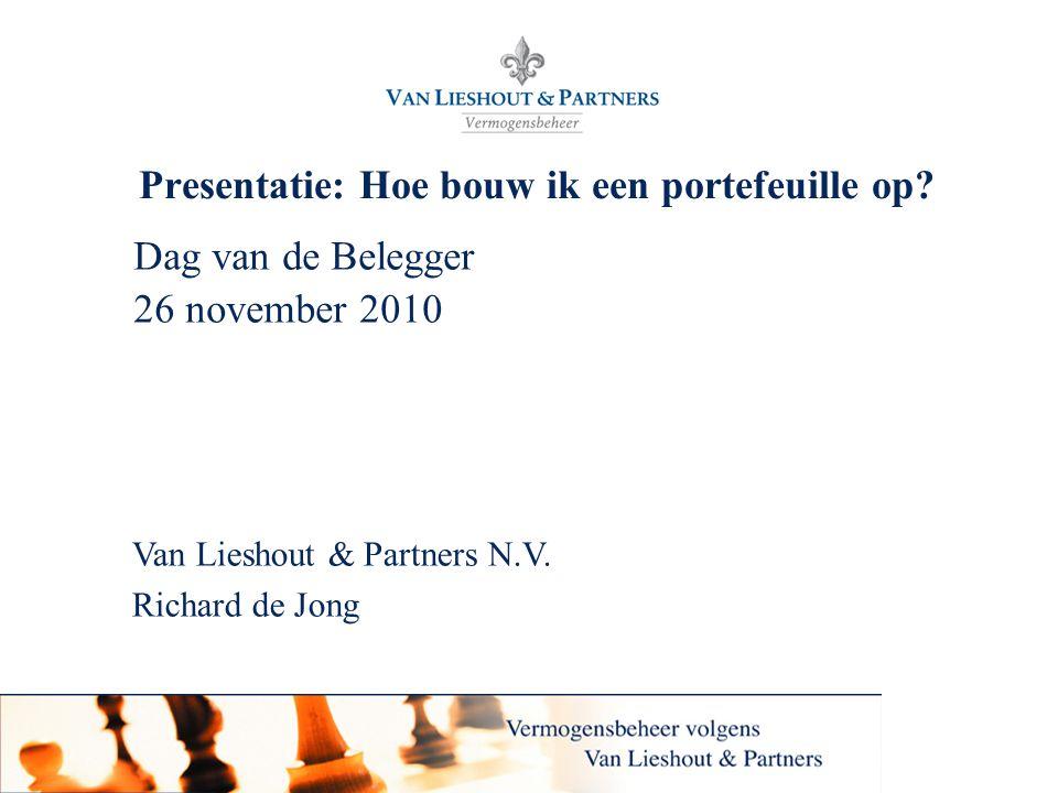 Van Lieshout & Partners N.V. Presentatie: Hoe bouw ik een portefeuille op? Dag van de Belegger 26 november 2010 Van Lieshout & Partners N.V. Richard d