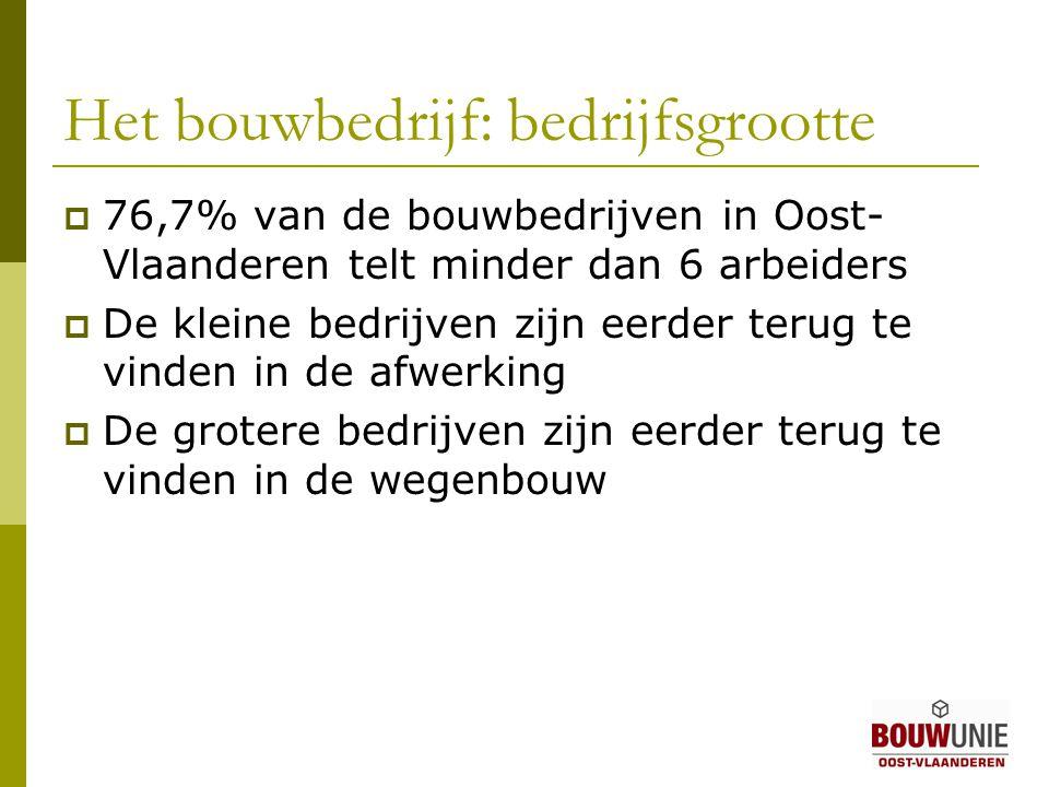  76,7% van de bouwbedrijven in Oost- Vlaanderen telt minder dan 6 arbeiders  De kleine bedrijven zijn eerder terug te vinden in de afwerking  De grotere bedrijven zijn eerder terug te vinden in de wegenbouw