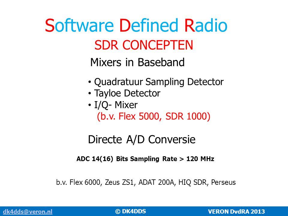 Software Defined Radio SDR CONCEPTEN dk4dds@veron.nldk4dds@veron.nl VERON DvdRA 2013 Mixers in Baseband Quadratuur Sampling Detector Tayloe Detector I