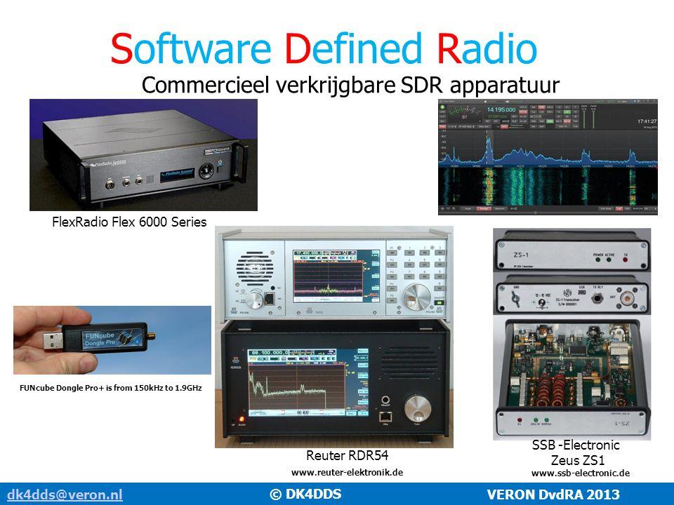 Software Defined Radio dk4dds@veron.nldk4dds@veron.nl VERON DvdRA 2013 Commercieel verkrijgbare SDR apparatuur FlexRadio Flex 6000 Series SSB -Electro
