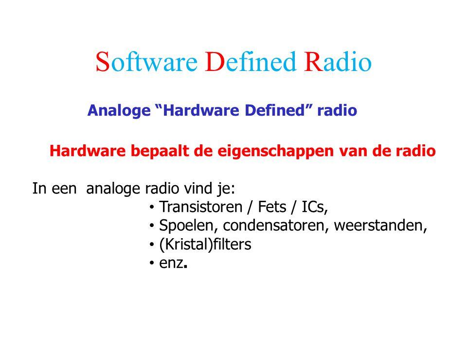 """Software Defined Radio Analoge """"Hardware Defined"""" radio Hardware bepaalt de eigenschappen van de radio In een analoge radio vind je: Transistoren / Fe"""