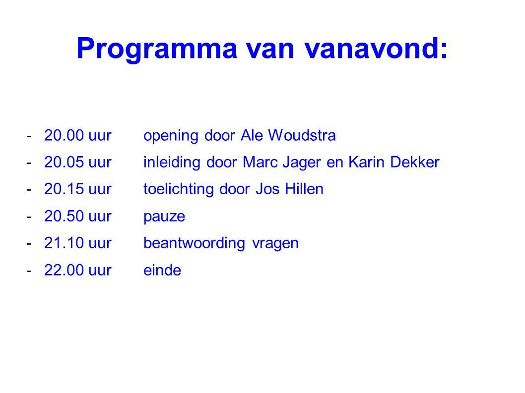 Programma van vanavond: -20.00 uuropening door Ale Woudstra -20.05 uurinleiding door Marc Jager en Karin Dekker -20.15 uurtoelichting door Jos Hillen