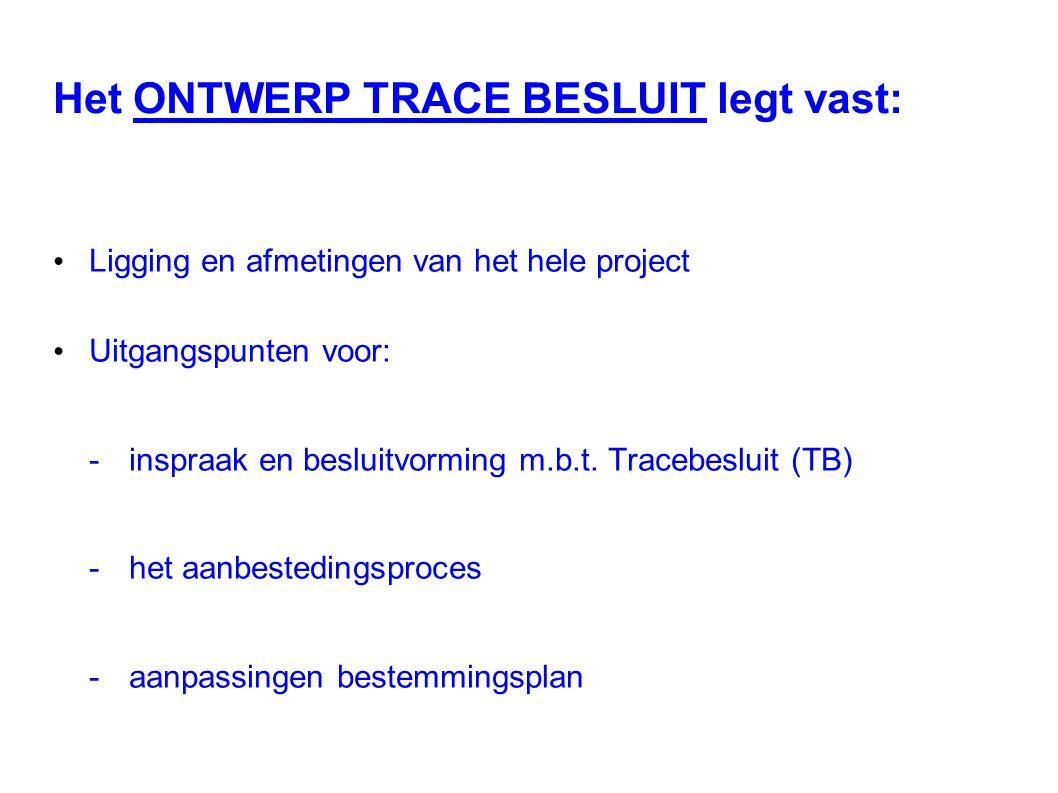 Het ONTWERP TRACE BESLUIT legt vast: Ligging en afmetingen van het hele project Uitgangspunten voor: -inspraak en besluitvorming m.b.t. Tracebesluit (