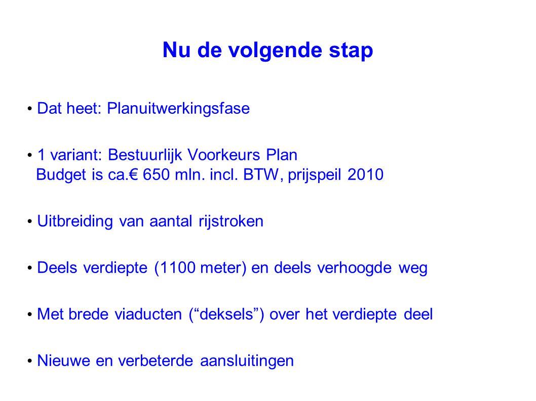 Nu de volgende stap Dat heet: Planuitwerkingsfase 1 variant: Bestuurlijk Voorkeurs Plan Budget is ca.€ 650 mln. incl. BTW, prijspeil 2010 Uitbreiding