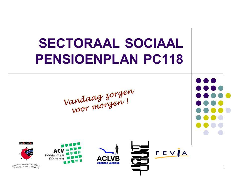 1 SECTORAAL SOCIAAL PENSIOENPLAN PC118 Vandaag zorgen voor morgen ! Vandaag zorgen voor morgen !