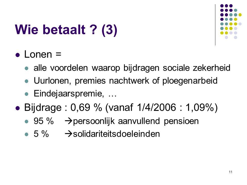 11 Wie betaalt ? (3) Lonen = alle voordelen waarop bijdragen sociale zekerheid Uurlonen, premies nachtwerk of ploegenarbeid Eindejaarspremie, … Bijdra