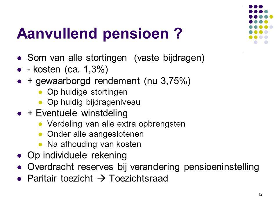 12 Aanvullend pensioen ? Som van alle stortingen (vaste bijdragen) - kosten (ca. 1,3%) + gewaarborgd rendement (nu 3,75%) Op huidige stortingen Op hui