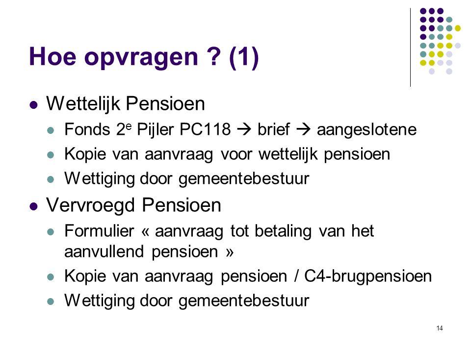 14 Hoe opvragen ? (1) Wettelijk Pensioen Fonds 2 e Pijler PC118  brief  aangeslotene Kopie van aanvraag voor wettelijk pensioen Wettiging door gemee