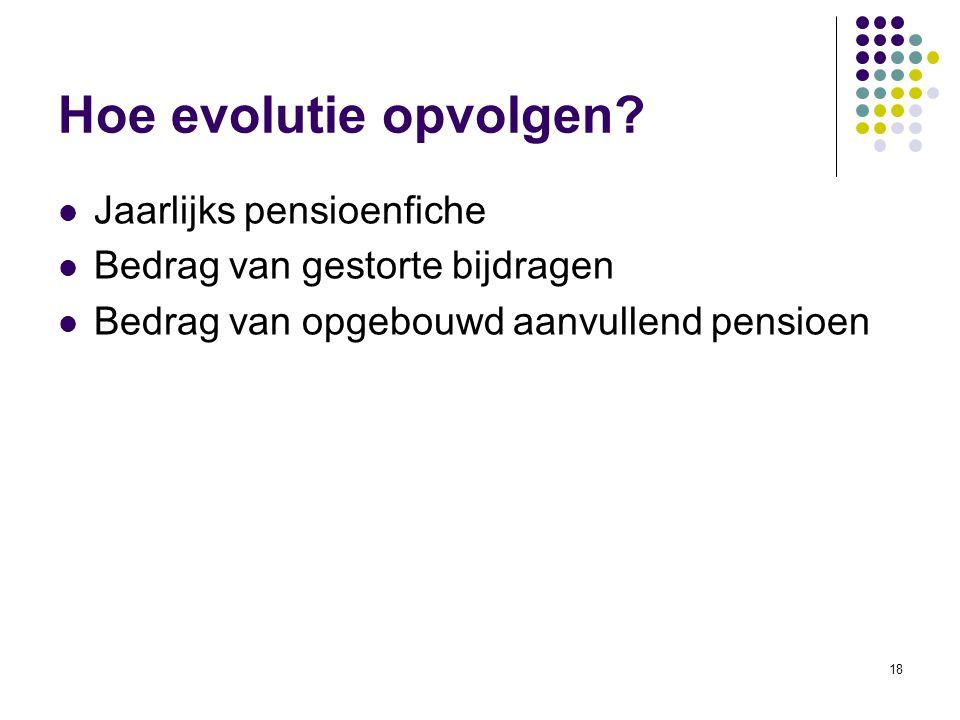18 Hoe evolutie opvolgen? Jaarlijks pensioenfiche Bedrag van gestorte bijdragen Bedrag van opgebouwd aanvullend pensioen