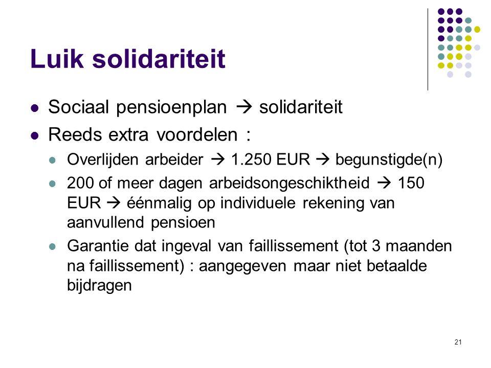 21 Luik solidariteit Sociaal pensioenplan  solidariteit Reeds extra voordelen : Overlijden arbeider  1.250 EUR  begunstigde(n) 200 of meer dagen ar