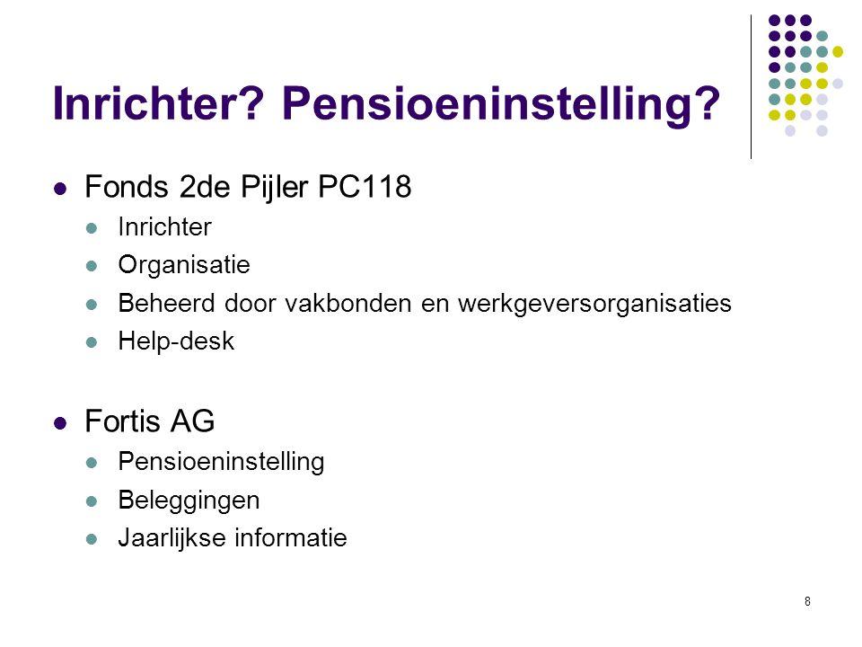 8 Inrichter? Pensioeninstelling? Fonds 2de Pijler PC118 Inrichter Organisatie Beheerd door vakbonden en werkgeversorganisaties Help-desk Fortis AG Pen