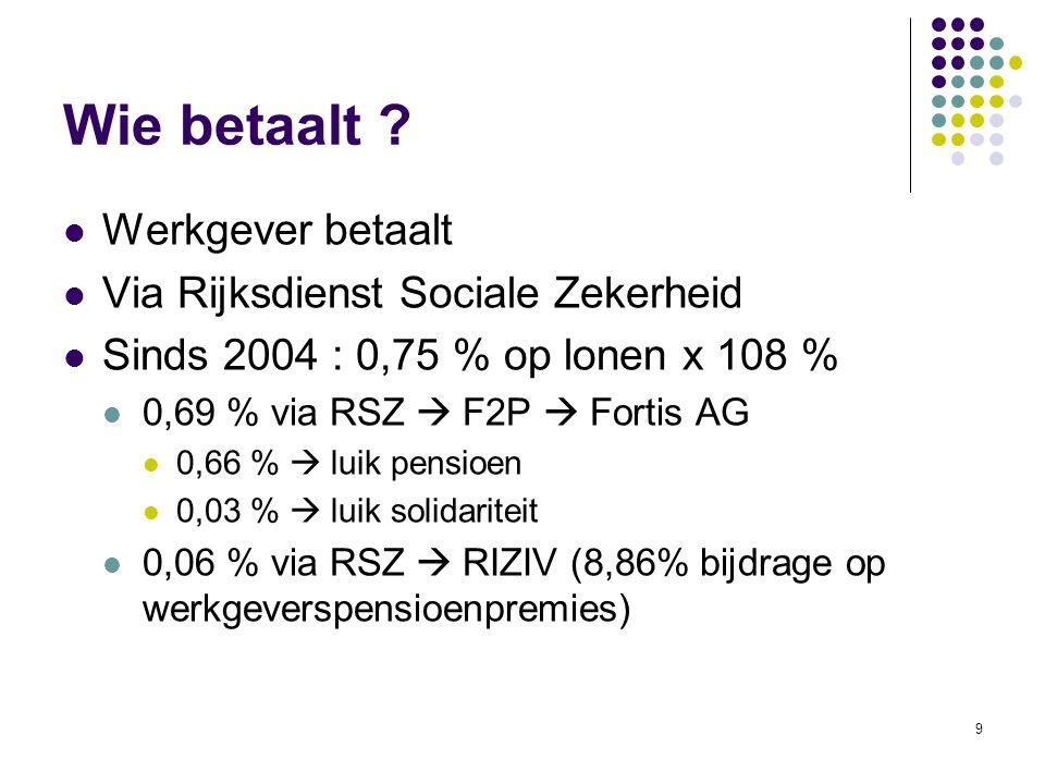 9 Wie betaalt ? Werkgever betaalt Via Rijksdienst Sociale Zekerheid Sinds 2004 : 0,75 % op lonen x 108 % 0,69 % via RSZ  F2P  Fortis AG 0,66 %  lui