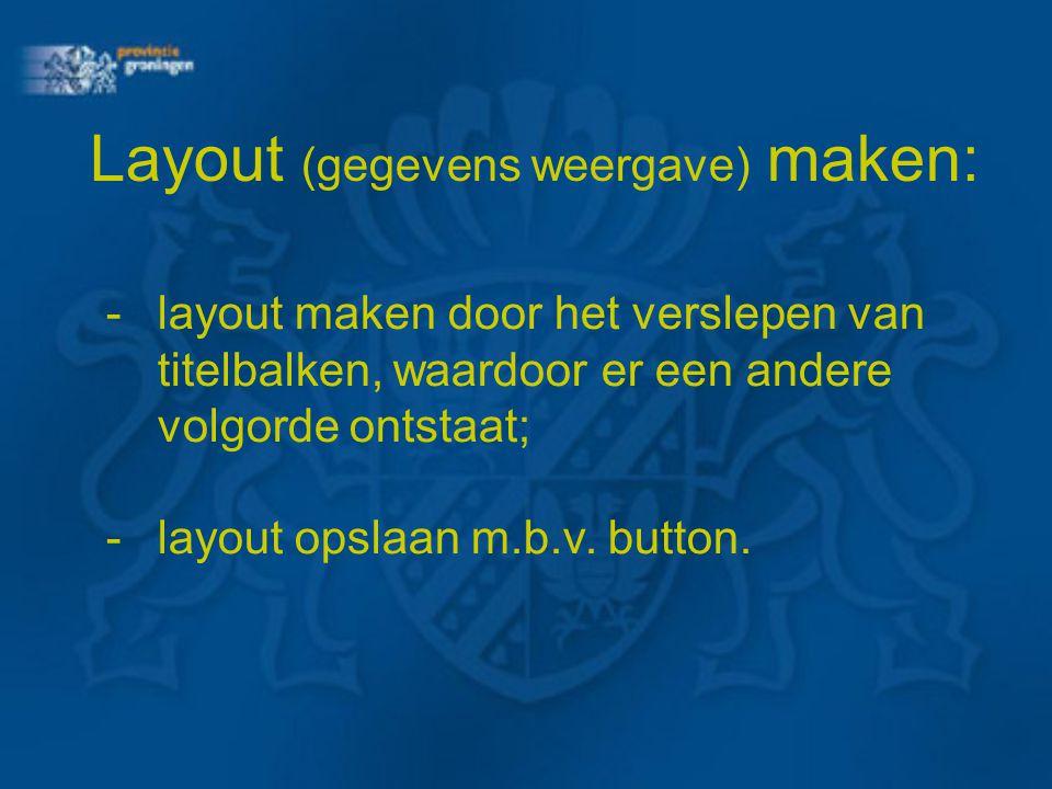-layout maken door het verslepen van titelbalken, waardoor er een andere volgorde ontstaat; -layout opslaan m.b.v. button. Layout (gegevens weergave)