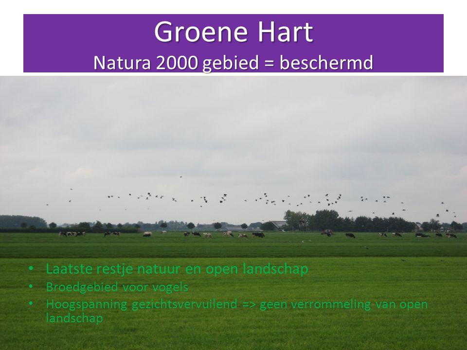 Groene Hart Natura 2000 gebied = beschermd Laatste restje natuur en open landschap Broedgebied voor vogels Hoogspanning gezichtsvervuilend => geen verrommeling van open landschap