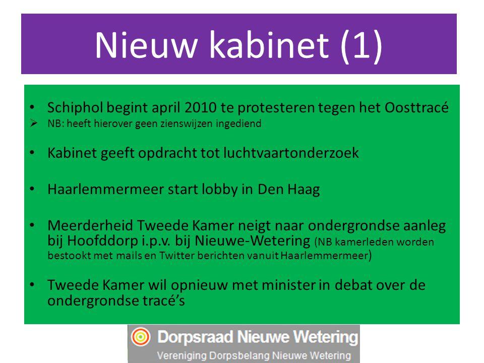Nieuw kabinet (1) Schiphol begint april 2010 te protesteren tegen het Oosttracé  NB: heeft hierover geen zienswijzen ingediend Kabinet geeft opdracht tot luchtvaartonderzoek Haarlemmermeer start lobby in Den Haag Meerderheid Tweede Kamer neigt naar ondergrondse aanleg bij Hoofddorp i.p.v.