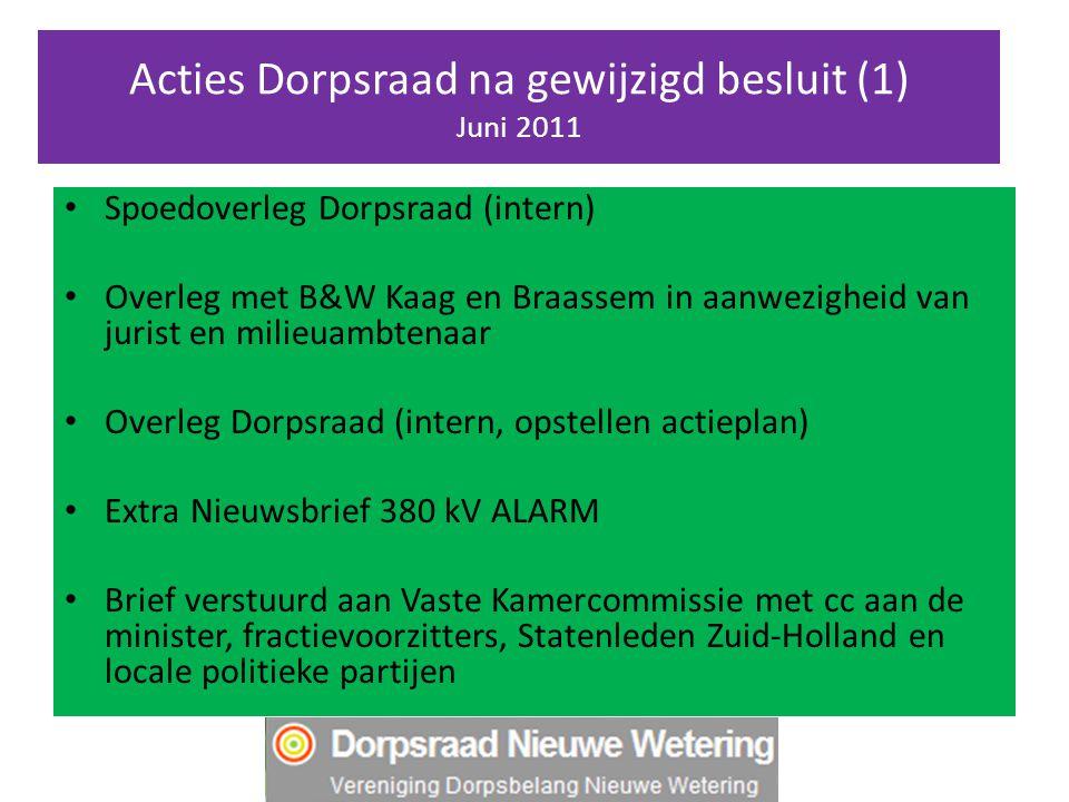 Acties Dorpsraad na gewijzigd besluit (1) Juni 2011 Spoedoverleg Dorpsraad (intern) Overleg met B&W Kaag en Braassem in aanwezigheid van jurist en mil