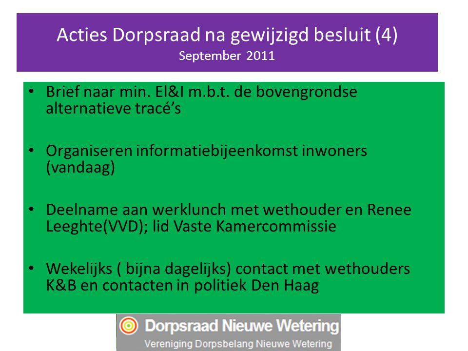 Acties Dorpsraad na gewijzigd besluit (4) September 2011 Brief naar min. El&I m.b.t. de bovengrondse alternatieve tracé's Organiseren informatiebijeen
