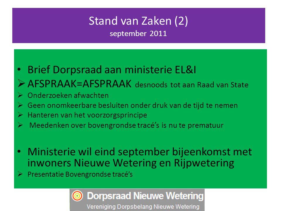 Stand van Zaken (2) september 2011 Brief Dorpsraad aan ministerie EL&I  AFSPRAAK=AFSPRAAK desnoods tot aan Raad van State  Onderzoeken afwachten  G