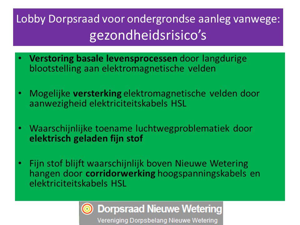Lobby Dorpsraad voor ondergrondse aanleg vanwege: gezondheidsrisico's Verstoring basale levensprocessen door langdurige blootstelling aan elektromagne