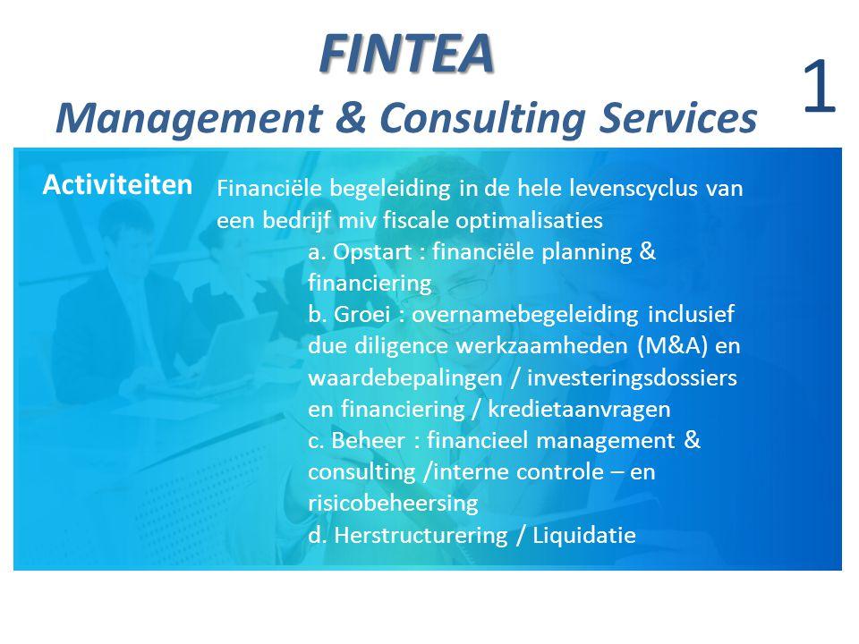 FINTEA FINTEA Management & Consulting Services 1 Activiteiten Financiële begeleiding in de hele levenscyclus van een bedrijf miv fiscale optimalisatie