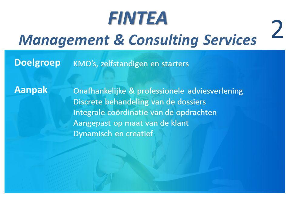 FINTEA FINTEA Management & Consulting Services 2 Doelgroep KMO's, zelfstandigen en starters Aanpak Onafhankelijke & professionele adviesverlening Discrete behandeling van de dossiers Integrale coördinatie van de opdrachten Aangepast op maat van de klant Dynamisch en creatief