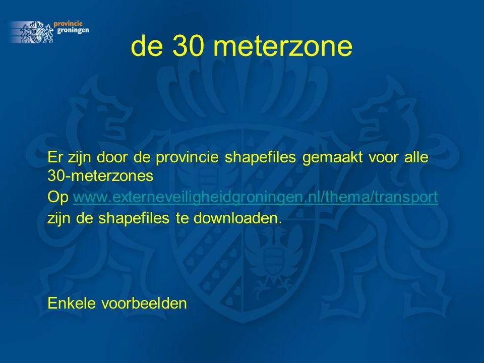 de 30 meterzone Er zijn door de provincie shapefiles gemaakt voor alle 30-meterzones Op www.externeveiligheidgroningen.nl/thema/transportwww.externeve