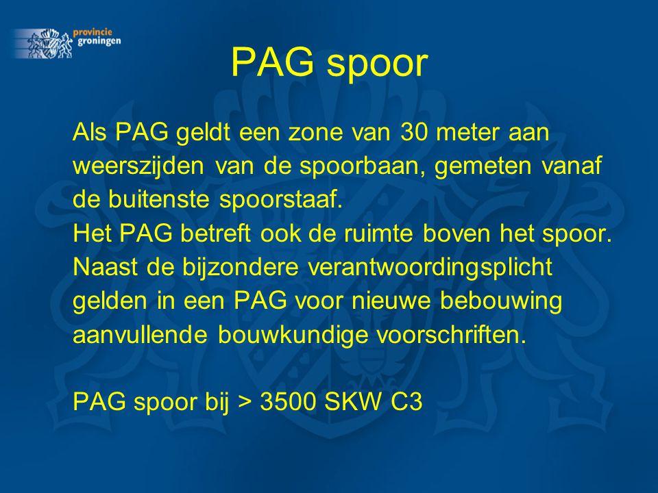 PAG spoor Als PAG geldt een zone van 30 meter aan weerszijden van de spoorbaan, gemeten vanaf de buitenste spoorstaaf. Het PAG betreft ook de ruimte b