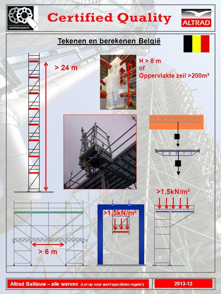 Tekenen en berekenen België 2013-12 Altrad Balliauw – alle werven (Let op voor werf specifieke regels!) > 24 m >1,5kN/m² > 6 m >1,5kN/m² H > 8 m of Oppervlakte zeil >200m ²