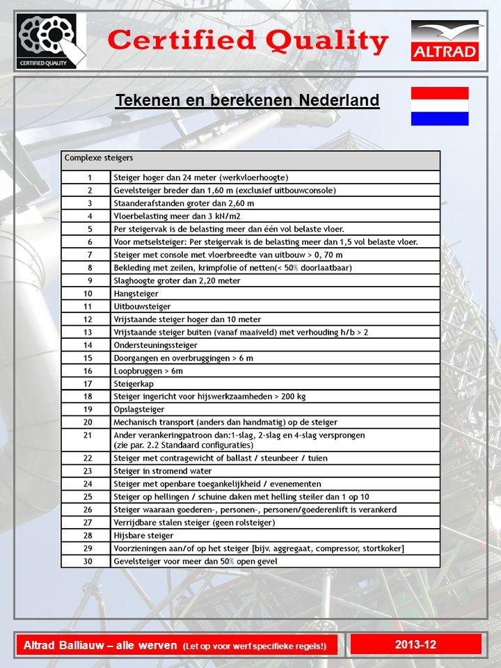 Tekenen en berekenen Nederland 2013-12 Altrad Balliauw – alle werven (Let op voor werf specifieke regels!)