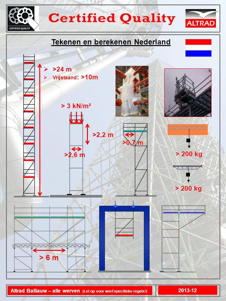 Tekenen en berekenen Nederland 2013-12 Altrad Balliauw – alle werven (Let op voor werf specifieke regels!)  >24 m  Vrijstaand : >10m > 3 kN/m² > 6 m >2,6 m >2,2 m >0,7 m > 200 kg