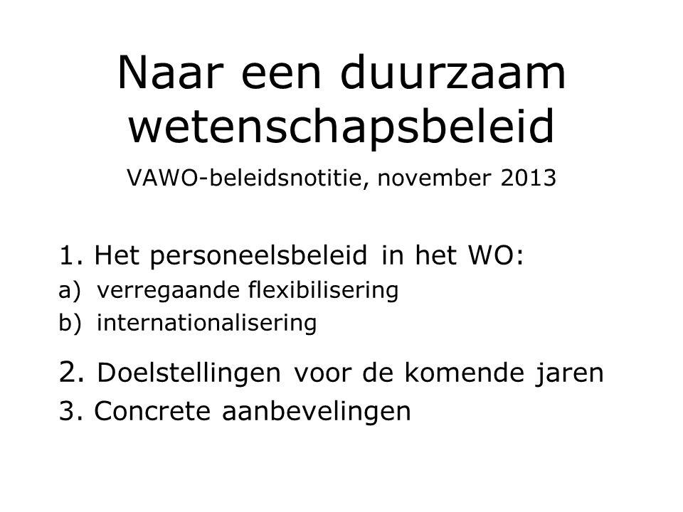 Naar een duurzaam wetenschapsbeleid VAWO-beleidsnotitie, november 2013 1. Het personeelsbeleid in het WO: a)verregaande flexibilisering b)internationa