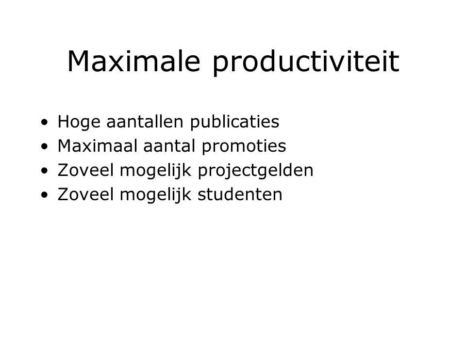 Maximale productiviteit Hoge aantallen publicaties Maximaal aantal promoties Zoveel mogelijk projectgelden Zoveel mogelijk studenten