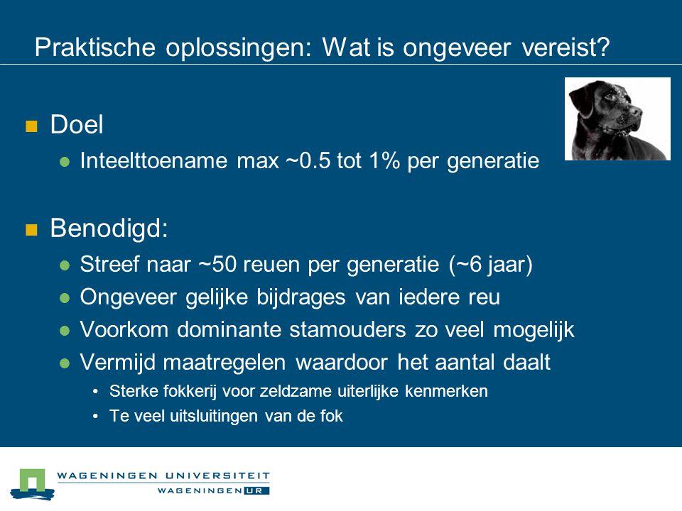 Praktische oplossingen: Wat is ongeveer vereist? Doel Inteelttoename max ~0.5 tot 1% per generatie Benodigd: Streef naar ~50 reuen per generatie (~6 j