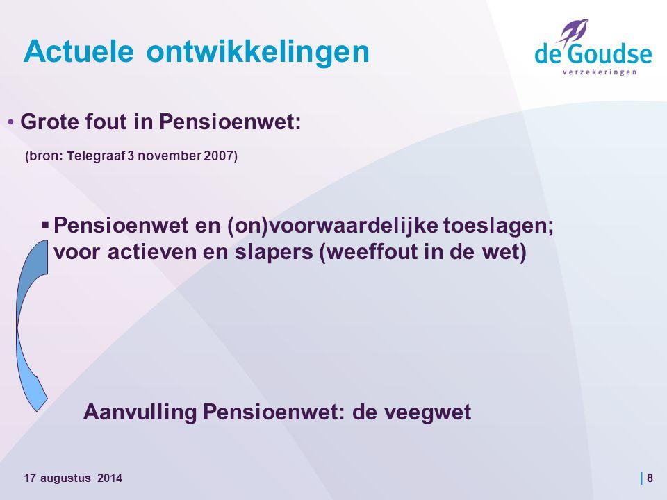 | 8 Actuele ontwikkelingen Grote fout in Pensioenwet: (bron: Telegraaf 3 november 2007)  Pensioenwet en (on)voorwaardelijke toeslagen; voor actieven en slapers (weeffout in de wet) Aanvulling Pensioenwet: de veegwet 17 augustus 2014