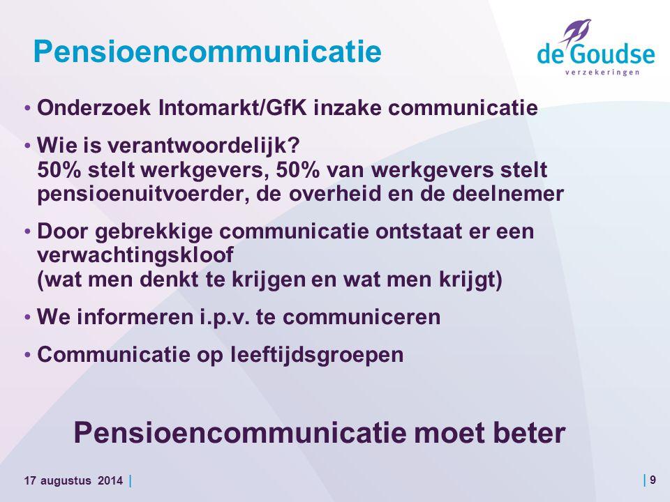 | 9 17 augustus 2014 | Pensioencommunicatie Onderzoek Intomarkt/GfK inzake communicatie Wie is verantwoordelijk.