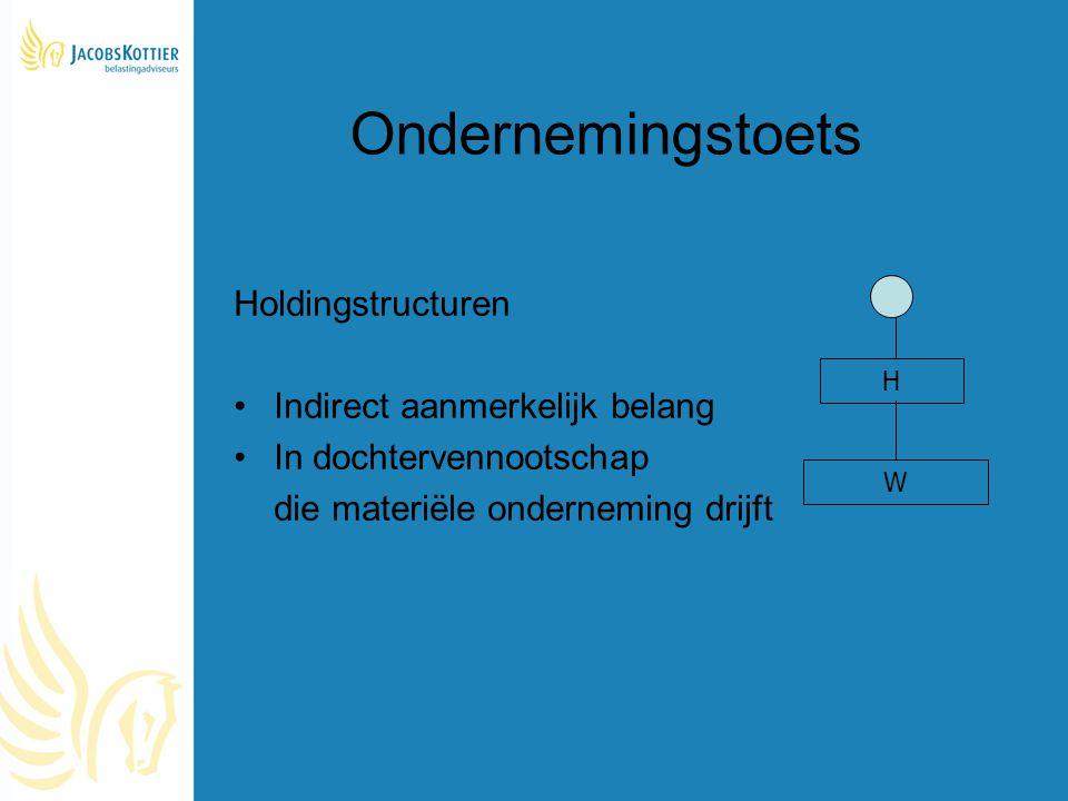 Ondernemingstoets Holdingstructuren Indirect aanmerkelijk belang In dochtervennootschap die materiële onderneming drijft H W
