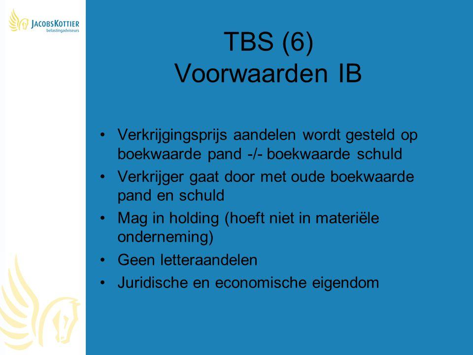 TBS (6) Voorwaarden IB Verkrijgingsprijs aandelen wordt gesteld op boekwaarde pand -/- boekwaarde schuld Verkrijger gaat door met oude boekwaarde pand