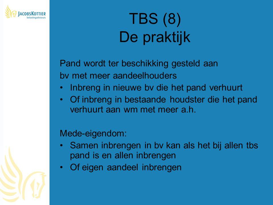 TBS (8) De praktijk Pand wordt ter beschikking gesteld aan bv met meer aandeelhouders Inbreng in nieuwe bv die het pand verhuurt Of inbreng in bestaan
