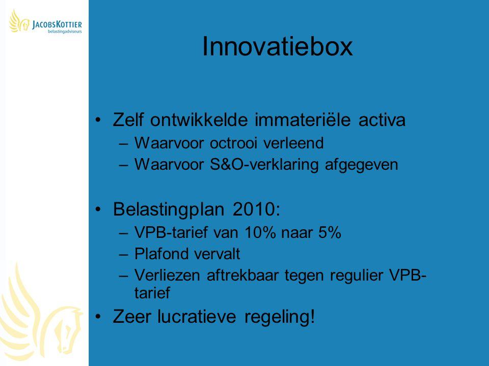 Innovatiebox Zelf ontwikkelde immateriële activa –Waarvoor octrooi verleend –Waarvoor S&O-verklaring afgegeven Belastingplan 2010: –VPB-tarief van 10%
