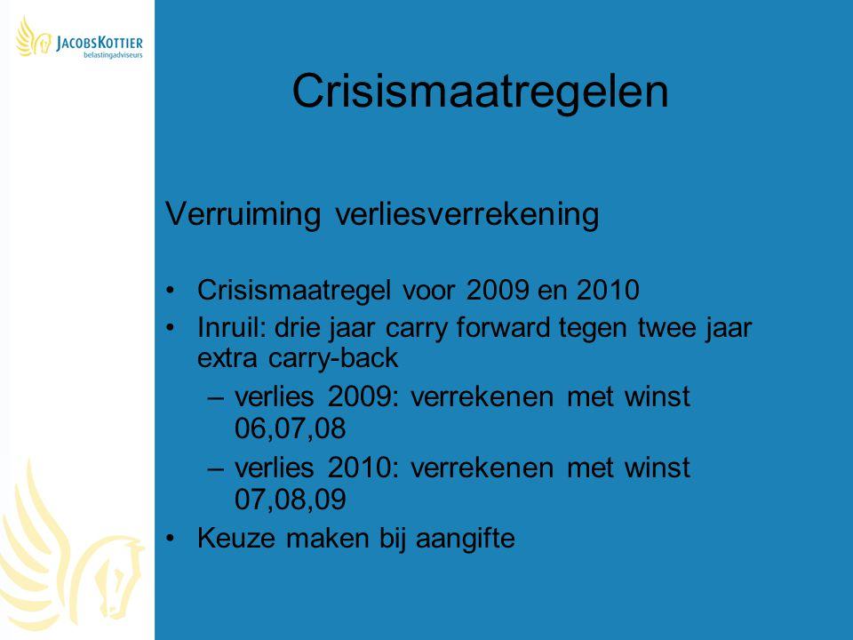 Crisismaatregelen Verruiming verliesverrekening Crisismaatregel voor 2009 en 2010 Inruil: drie jaar carry forward tegen twee jaar extra carry-back –ve