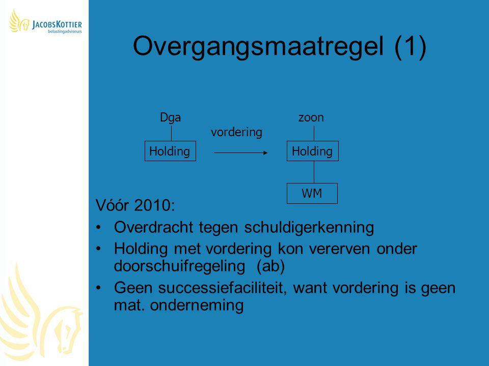 Overgangsmaatregel (1) Vóór 2010: Overdracht tegen schuldigerkenning Holding met vordering kon vererven onder doorschuifregeling (ab) Geen successiefa
