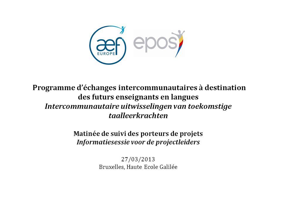 Programme d'échanges intercommunautaires à destination des futurs enseignants en langues Intercommunautaire uitwisselingen van toekomstige taalleerkra