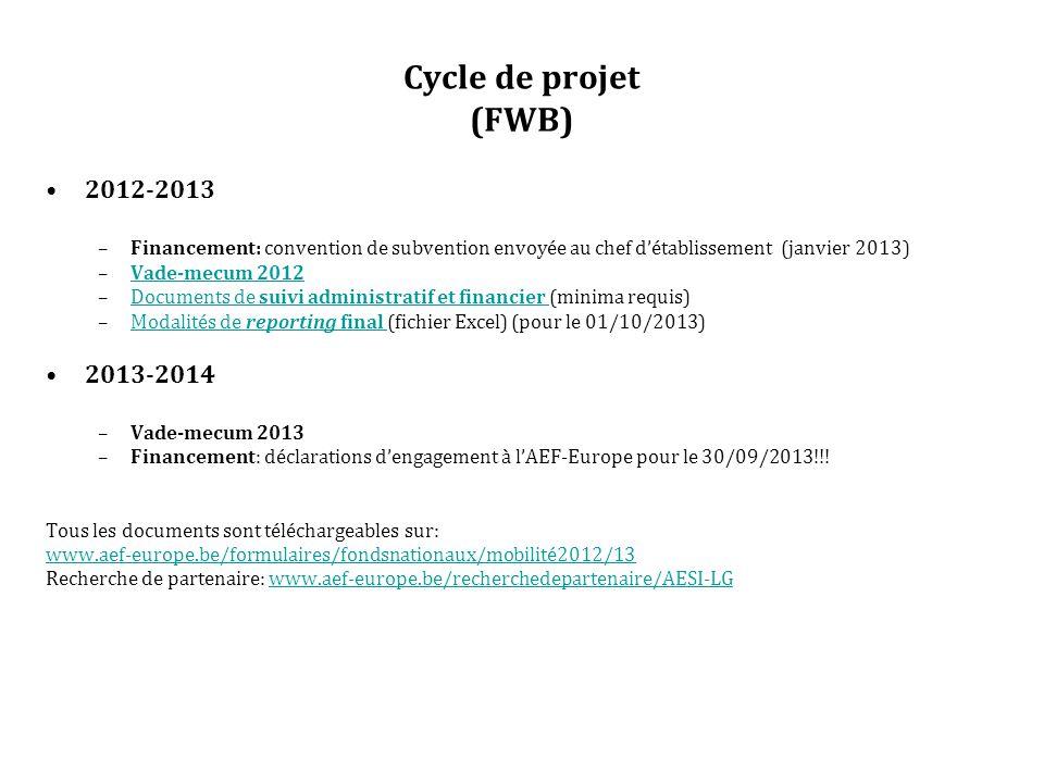 Cycle de projet (FWB) 2012-2013 –Financement: convention de subvention envoyée au chef d'établissement (janvier 2013) –Vade-mecum 2012Vade-mecum 2012 –Documents de suivi administratif et financier (minima requis)Documents de suivi administratif et financier –Modalités de reporting final (fichier Excel) (pour le 01/10/2013)Modalités de reporting final 2013-2014 –Vade-mecum 2013 –Financement: déclarations d'engagement à l'AEF-Europe pour le 30/09/2013!!.