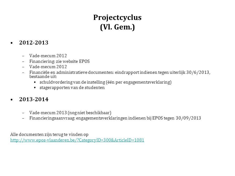 Projectcyclus (Vl. Gem.) 2012-2013 –Vade-mecum 2012 –Financiering: zie website EPOS –Vade-mecum 2012 –Financiële en administratieve documenten: eindra