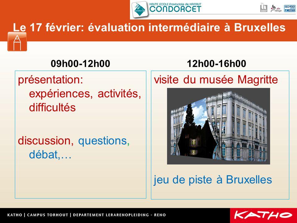 Le 17 février: évaluation intermédiaire à Bruxelles 09h00-12h00 présentation: expériences, activités, difficultés discussion, questions, débat,… 12h00-16h00 visite du musée Magritte jeu de piste à Bruxelles