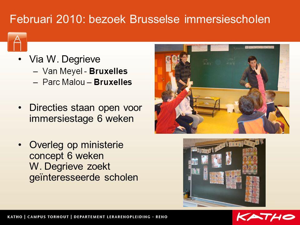 curriculumwijziging 3BALO Torhout academiejaar 2010- 2011 Keuzetrajecten 6 weken: immersie Hulp voor vinden van scholen + verblijf door W.