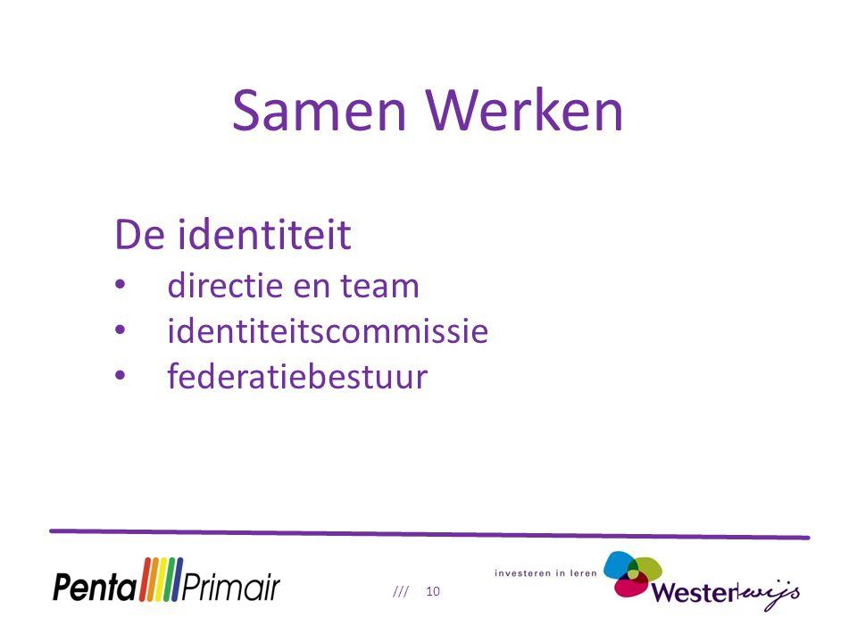 Samen Werken /// 10 De identiteit directie en team identiteitscommissie federatiebestuur