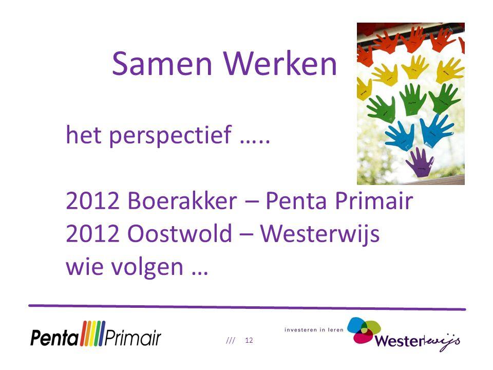 Samen Werken /// 12 het perspectief ….. 2012 Boerakker – Penta Primair 2012 Oostwold – Westerwijs wie volgen …